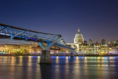 St Paul's Cathedral and the Millennium Bridge by night, London, UK
