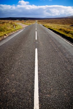 Straight motorway at the Scottish highlands, Scotland, UK