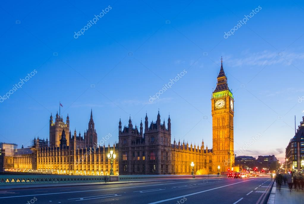 The Big Ben with the Parliament from Westminster Bridge at blue hour, London, UK