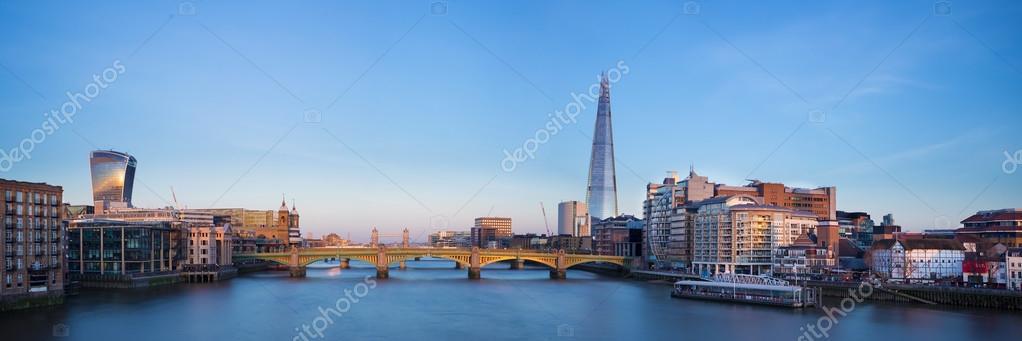 Panoramic view of London, Shard, Tower Bridge and Globe theatre