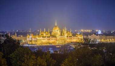 The parliament of Hungary and skyline of Budapest by night