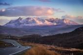 Scottish highlands. The mountains of Glamaig at sunset on the Isle of Skye, Scotland, UK