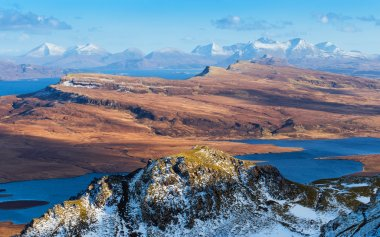 The Scottish Highlands skyline shot from the Old Man of Storr at daytime - Isle of Skye, Scotland, UK
