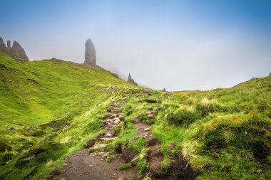 The way up to the Old Man of Storr on a cloudy spring day on Isle of Skye - Scotland, UK