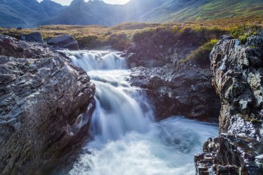 The Fairy Pools and the mountains of Glenbrittle at early morning on Isle of Skye - Scotland, UK