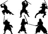 Photo Set of Samurai warrior vector silhouette