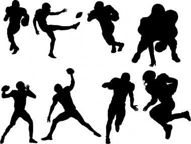 Set of football player silhouettes