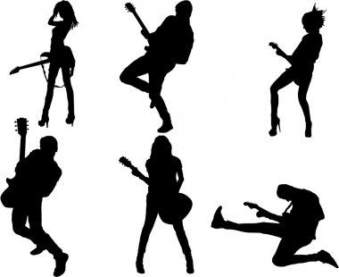 Set of guitar player silhouette