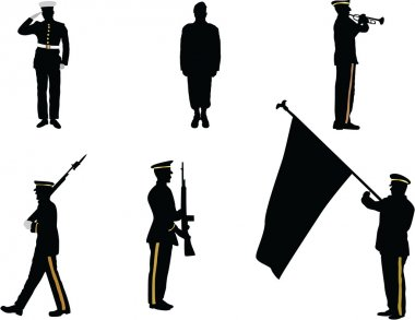 Set of military parade silhouette figures