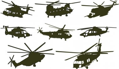 Set of military transport helicopter