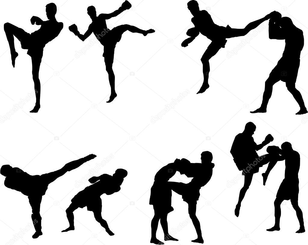 The Set Of Muay Thai Silhouette Stock Vector C Miloskontra 90852726