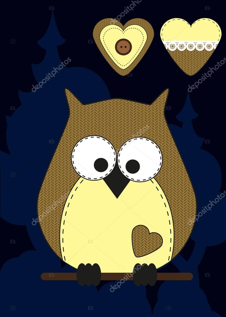 Cute cartoon owl in flat design for greeting card invitation and cute cartoon owl in flat design for greeting card invitation and logo with fabric texture vector illustration vetor por evilmisssail stopboris Choice Image