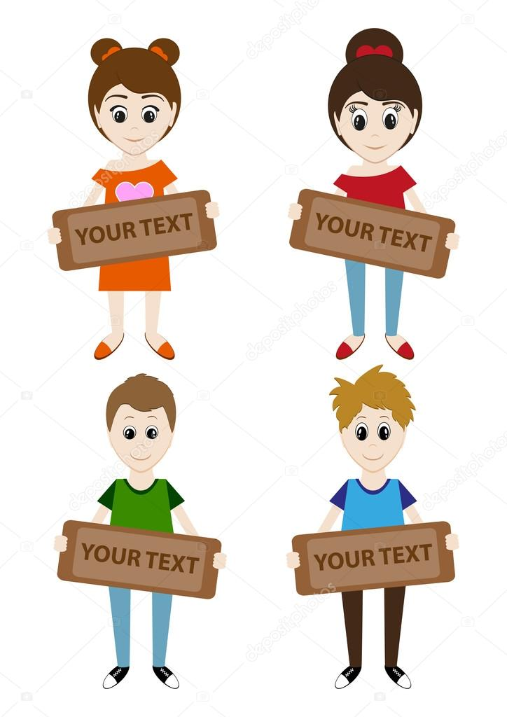 Set cartoon jongens en meisjes die houden van een teken voor uw tekst vector stockvector - Set van jongens en meisjes ...