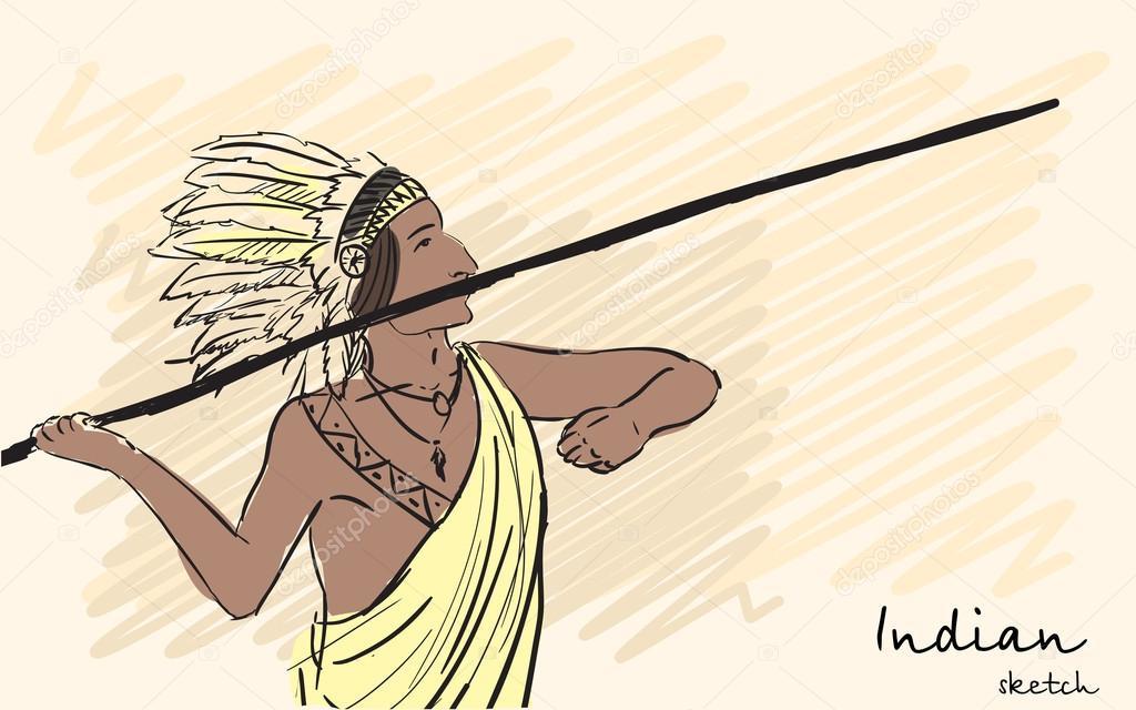 Guerrero indio Apache lanza una lanza. Bosquejo de la identidad ...