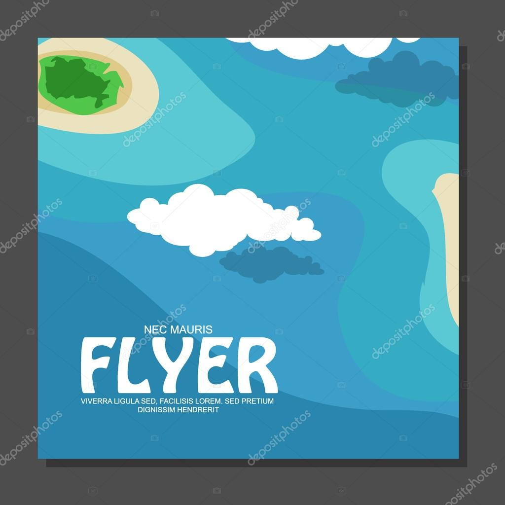 flyer in flat style with a map of the island to travel and vacation