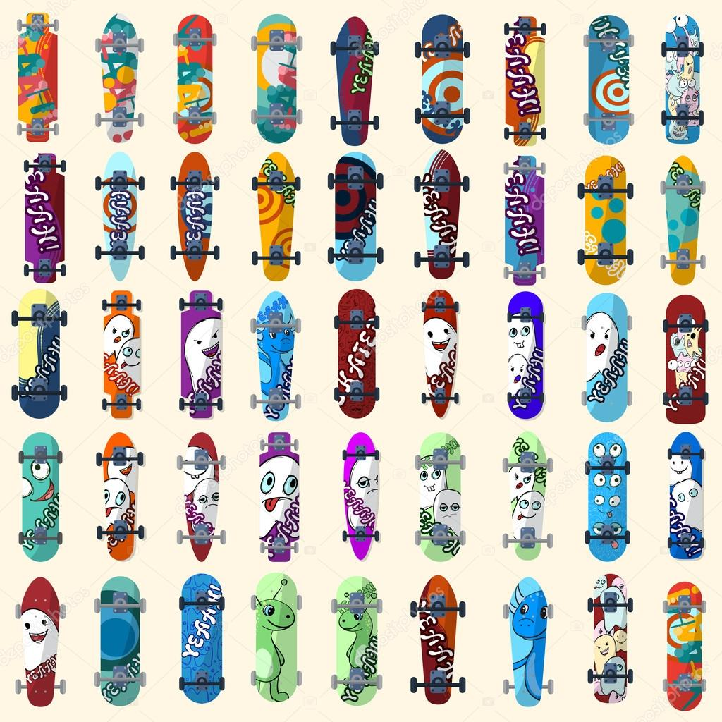 473412a7 Big Set of skateboards and skateboarding and elements of street style.  Painted in bright figures in a cartoon style. Vector illustration — Vector  by ...
