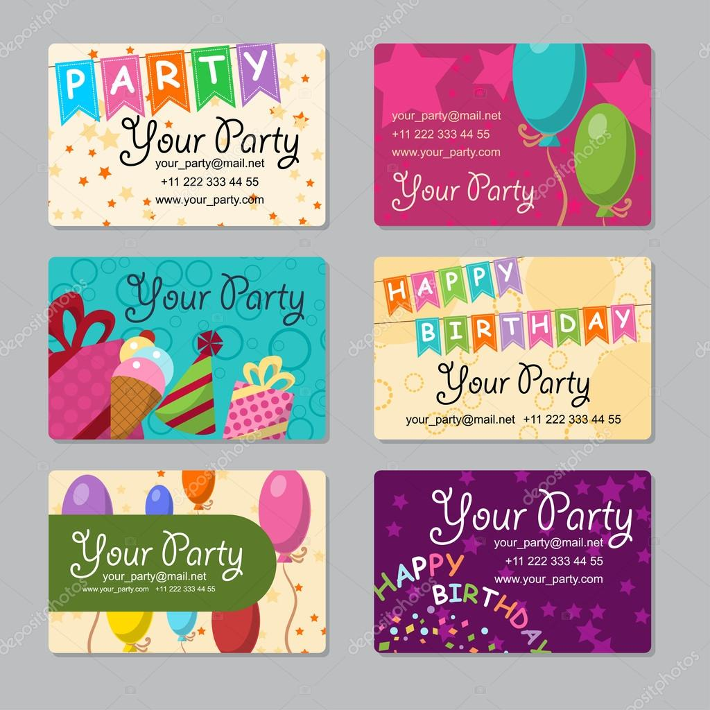 Set of business card your party with gifts balloons ice cream and set of business card your party with gifts balloons ice cream and hat for reheart Choice Image