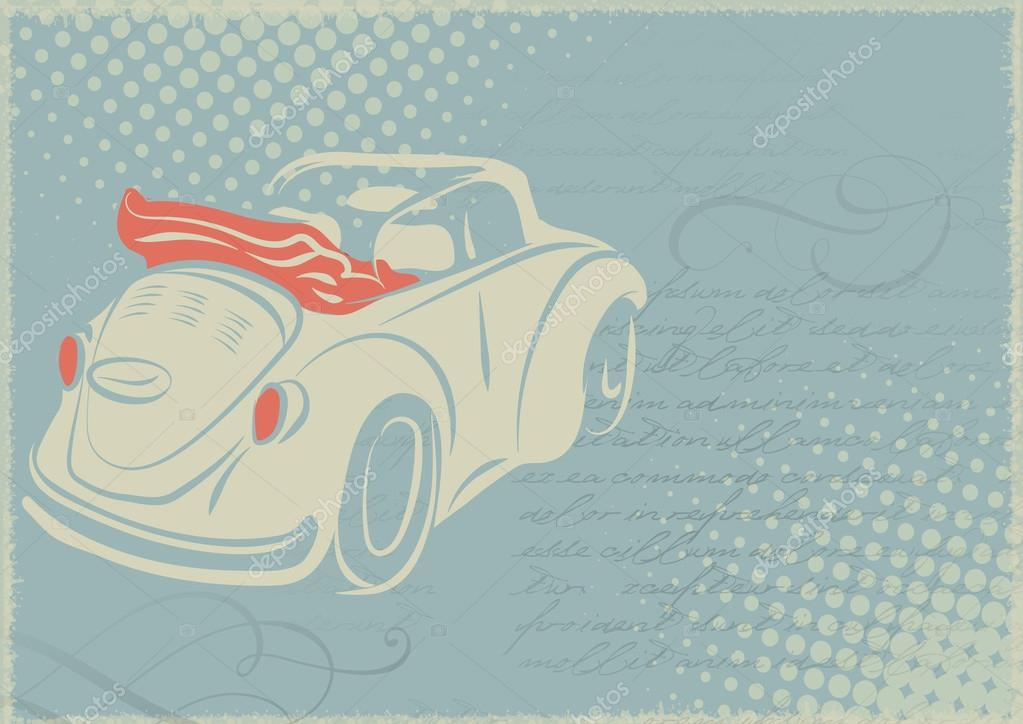 vintage card with retro car