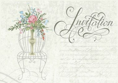 invitation in retro-style with flowers