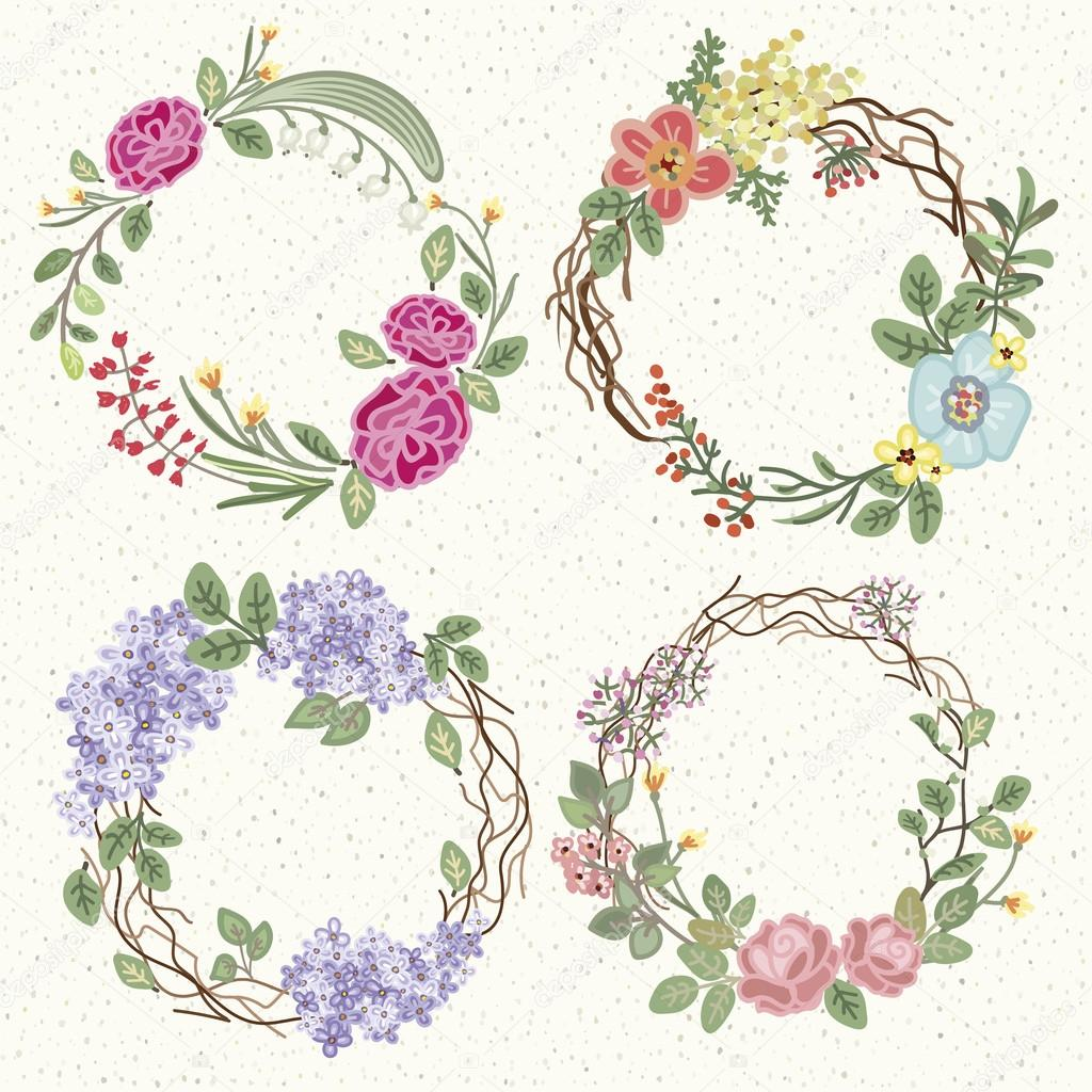 set of hand-drawing wreathes in retro style