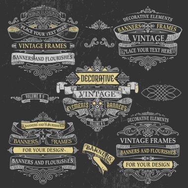 Decorative vintage banners.
