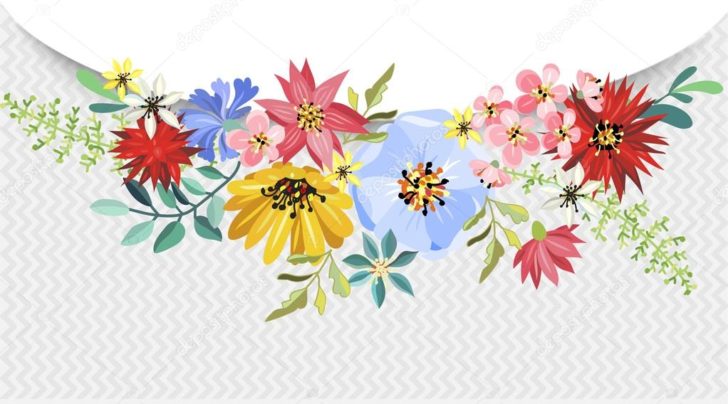 Bouquet of beautiful flowers. — Stock Vector © alexdancer #115301408
