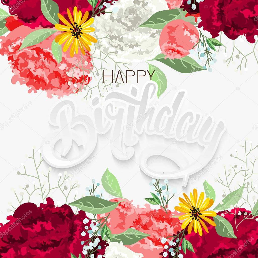 Lettering Happy Birthday With Beautiful Flowers Stock Vector