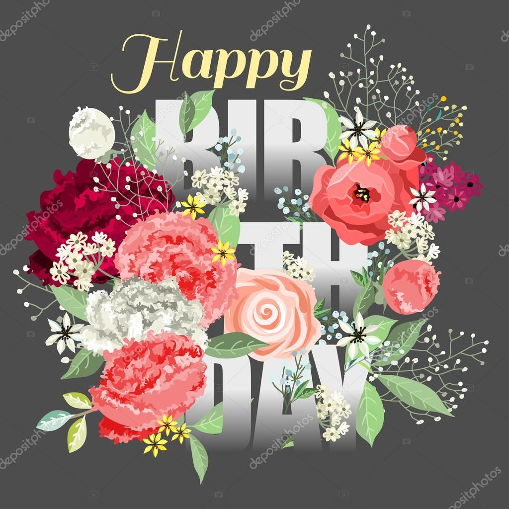 Composition with beautiful flowers and phrase happy birthday composition with beautiful flowers and phrase happy birthday ai eps 10 file grouped and layered vector by alexdancer izmirmasajfo