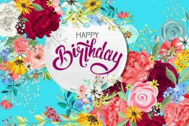 Greeting birthday card with flowers.