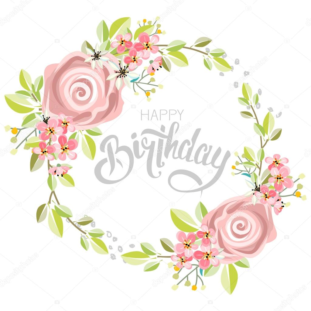 Greeting Birthday Card With Flowers Stock Vector Alexdancer