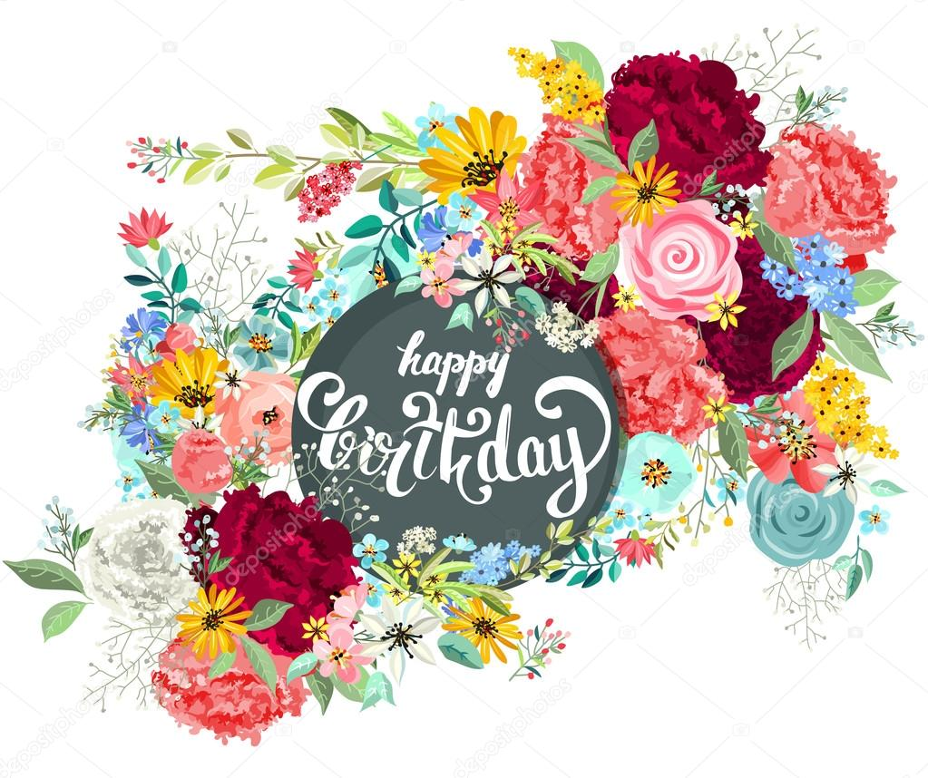 Birthday Card With Lettering And Flowers Stock Vector