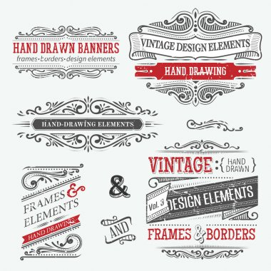 Vintage frames, design elements