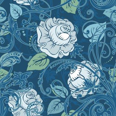 seamless background with beautiful flowers and swirls