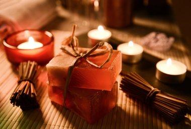 Spa still life with soap, bath salt, cream,towel,candles