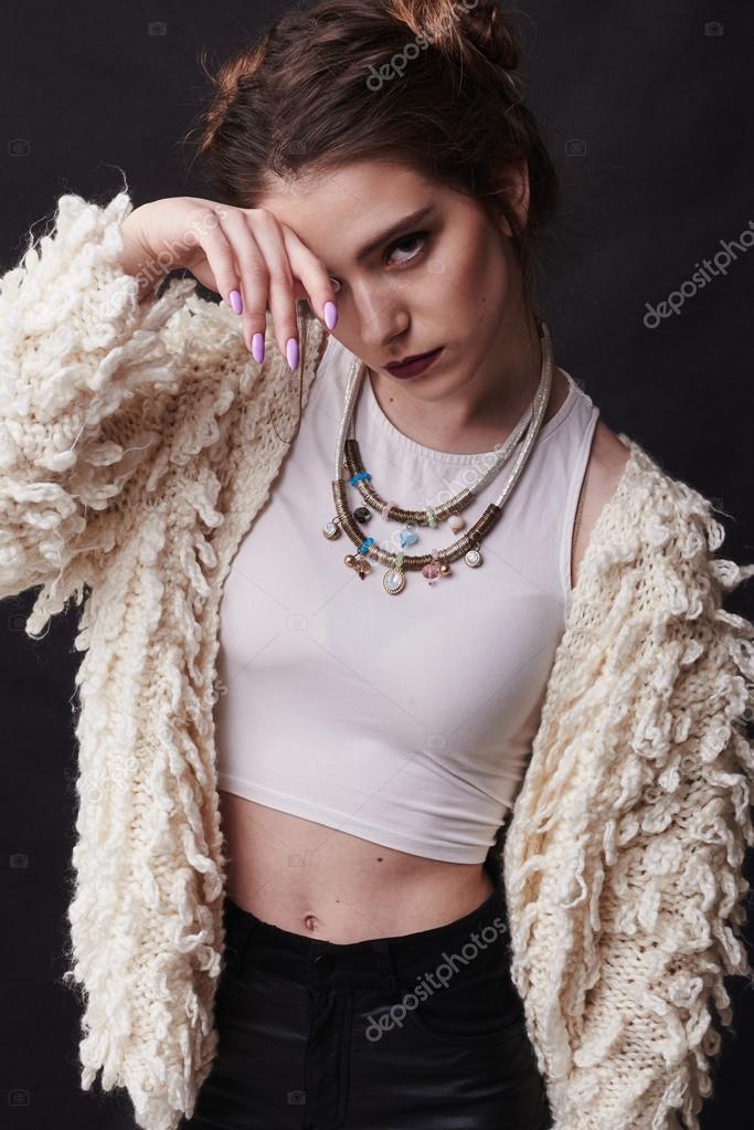 Coole Mode Porträt Von Amazing Mädchen Coole Frisur Modischen Stil