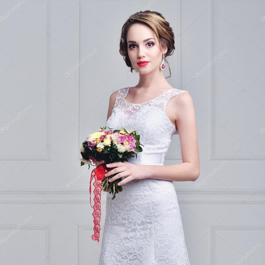 Beautiful Bride portrait wedding makeup and hairstyle with diamond ...