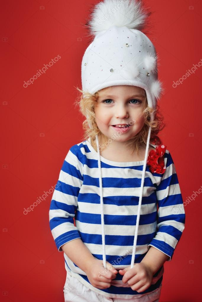 3fcd185b1 Portrait of a cute little girl in fashionable clothes. beautiful ...