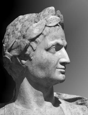 Gaius Julius Caesar sculpture on a gray background