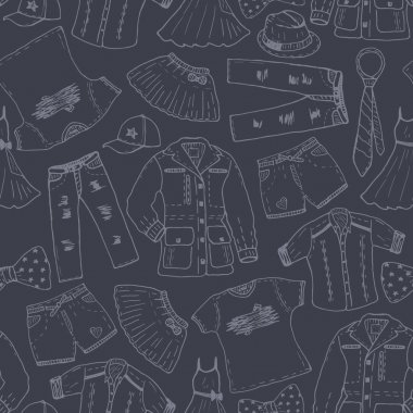 clothes sketches seamless pattern