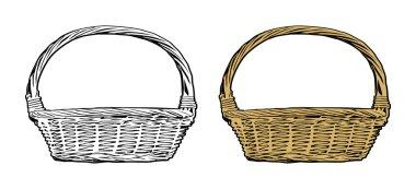 Wicker basket vector