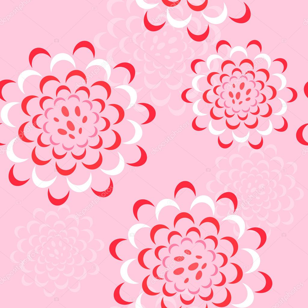 Vector seamless floral pattern with peonies or roses in pink, red, white colors. Design for textile, fabric, websites, wedding or invitation cards, postcards