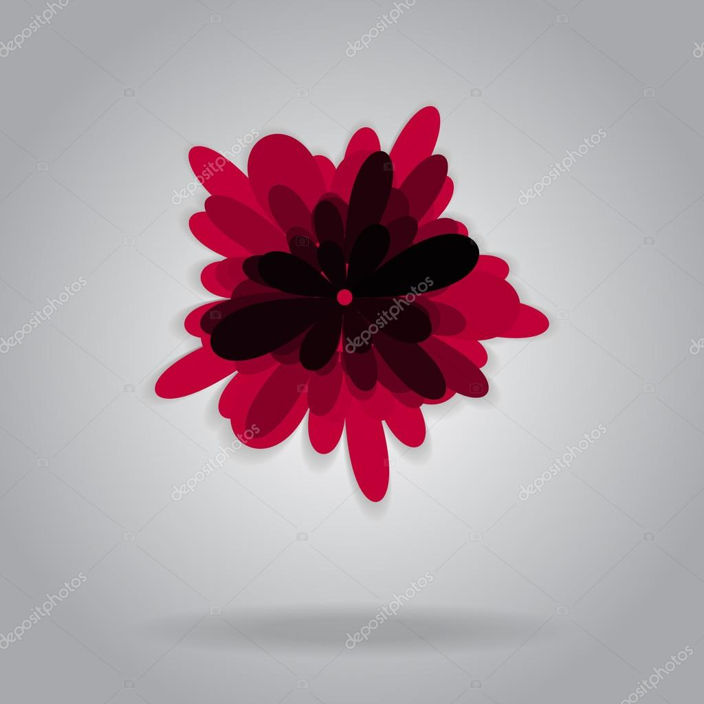 Vector isolated red flower grey background shadow simple flat vector isolated red flower grey background shadow simple flat design for invitation wedding cards postcards websites wallpapers booklets brochures stopboris Gallery