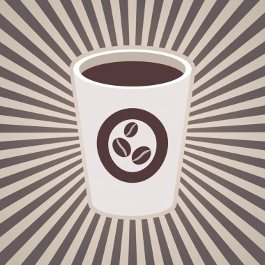 Vector coffee or tea cup and stripes, beams, rays in brown coffee, milk white colors. Vintage design for menu, brochures, graphic and simple design. Hot espresso, cappuccino or americano, coffee beans