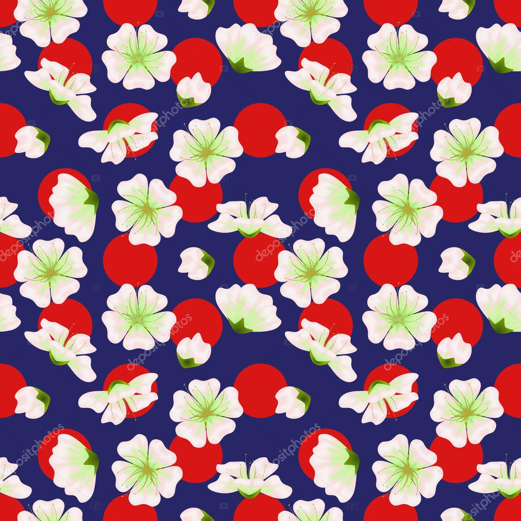 Vector seamless sakura pattern. Realistic floral design in polka dot background for menu, invitation, greeting cards, websites, brochures, booklets, wallpapers in japanese style. Hanami festival spring flowers