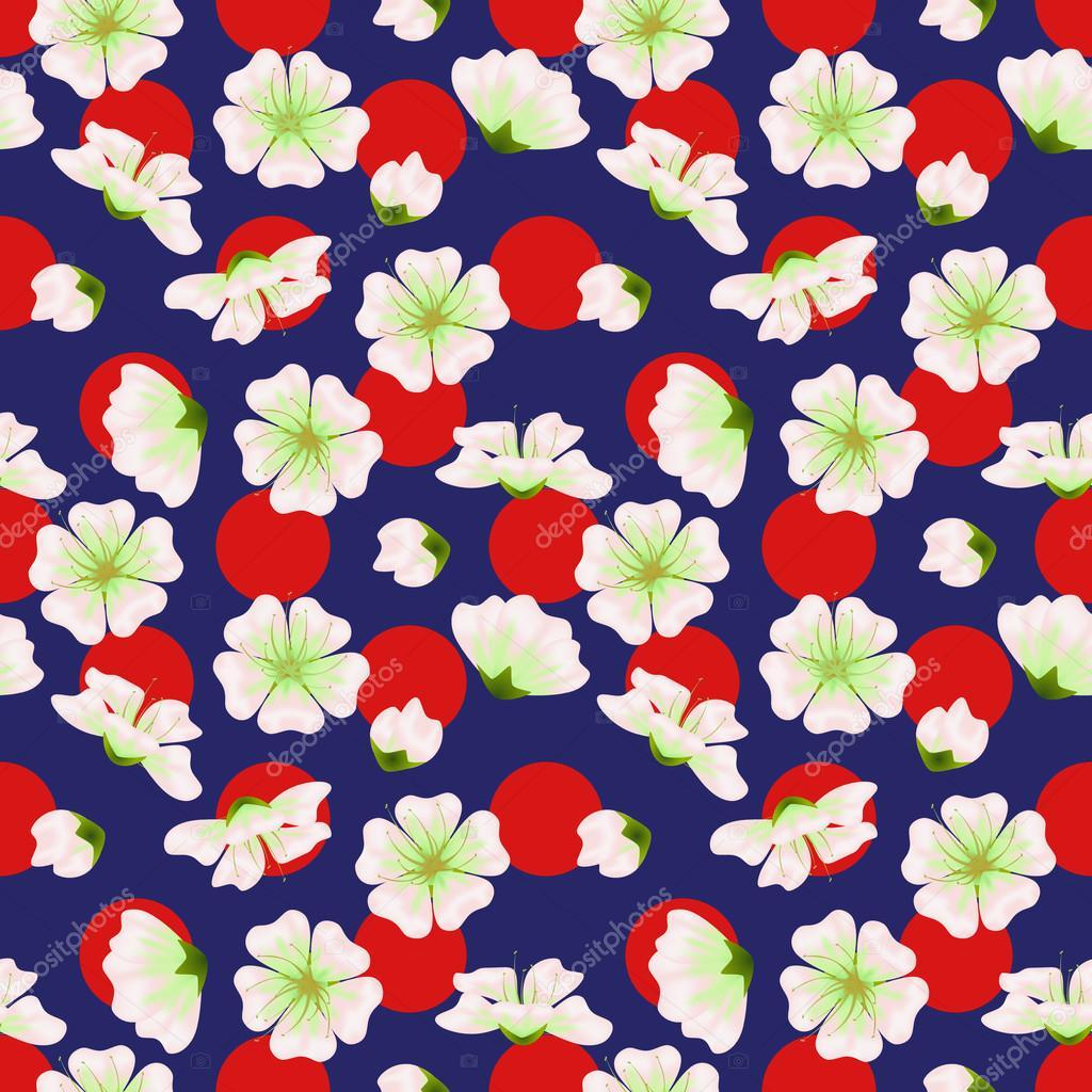 Vector Seamless Sakura Pattern Realistic Floral Design In Polka Dot