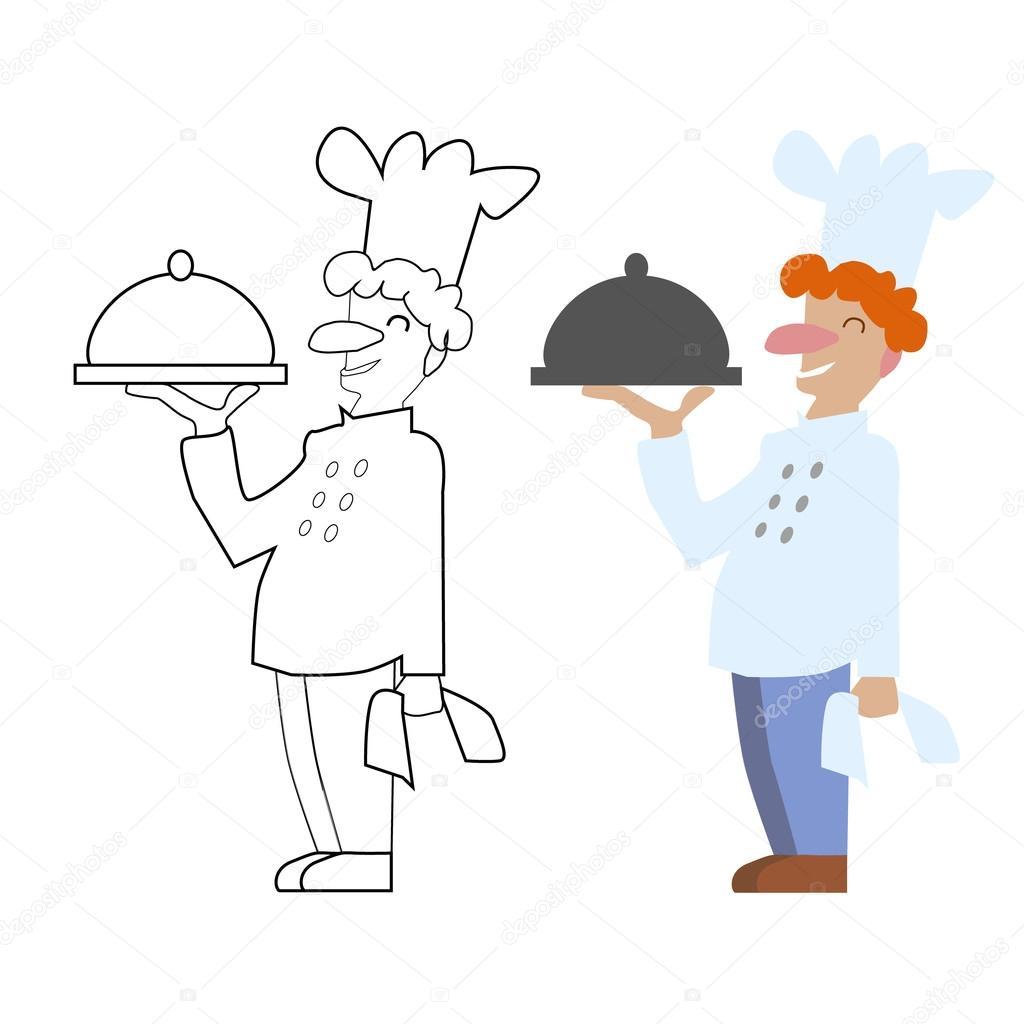 Vektör Boyasız Ve Renkli şef Aşçı Oyun çocuklar Için Kitap Sayfa