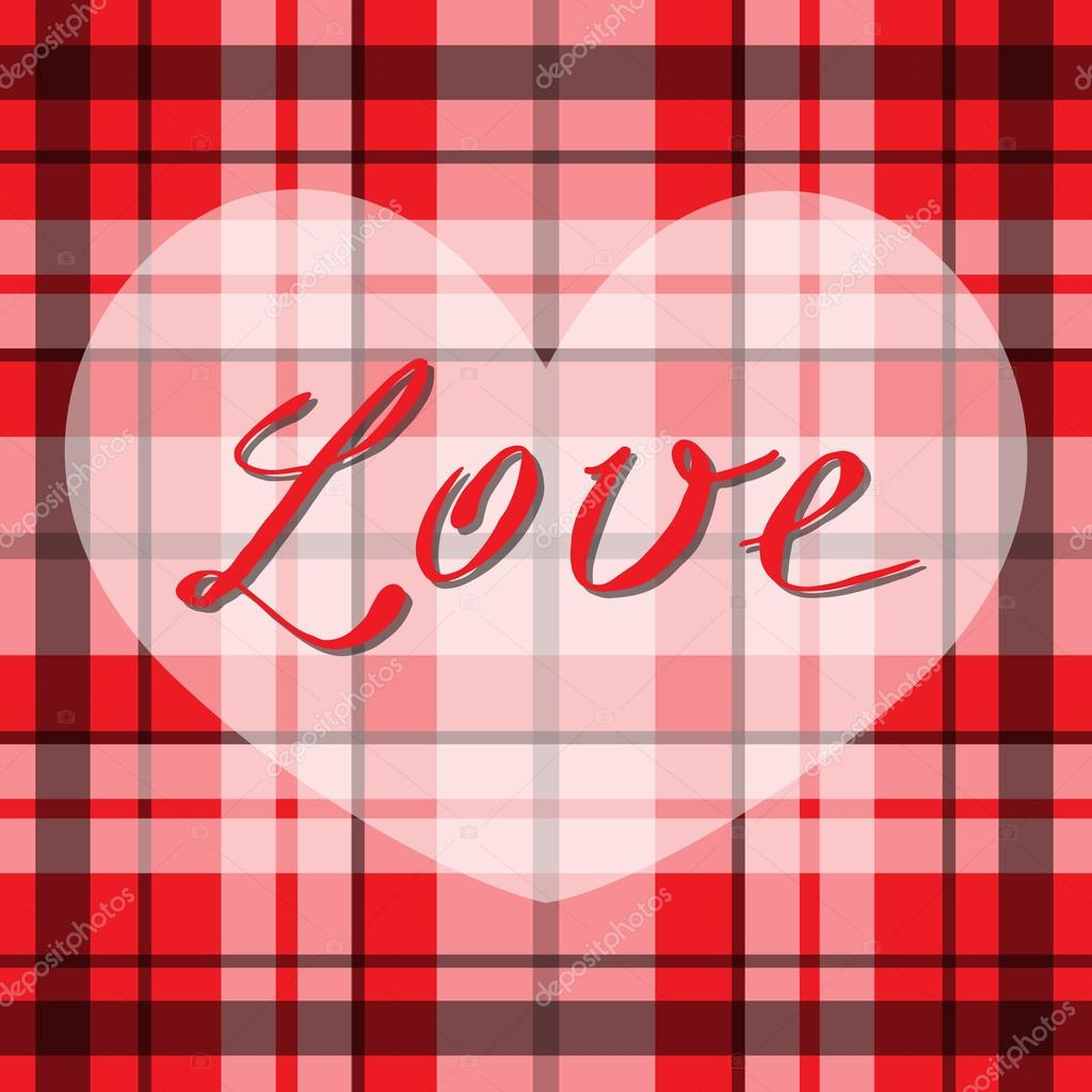 Vector romantic scottish tartan heart in red, white and black ...