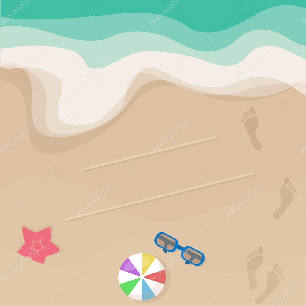Vector seashore illustration, top view. Sunglasses, ball, starfish, footprints. Summer design for invitation and greeting card. Background for brochures, booklets, postcards.