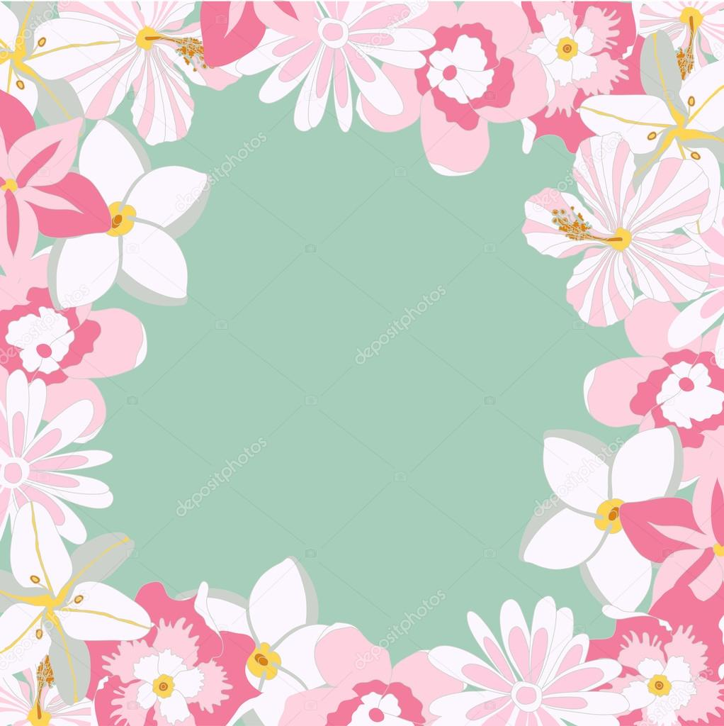 Vector Frame With Tropical Pink Flowers Stock Vector Milan Kivi