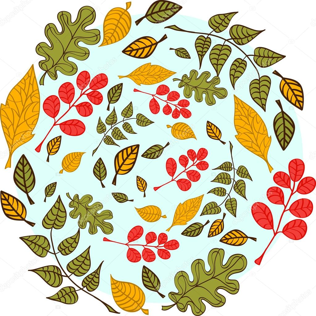 Leaves on a blue background
